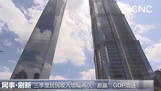 """三季度居民收入增幅再次""""跑贏""""GDP增速"""