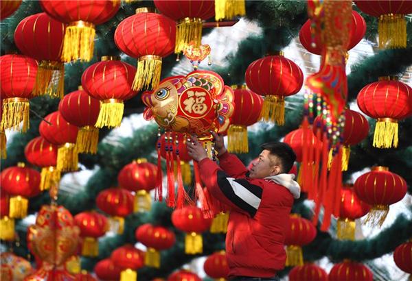 北京石景山遊樂園裝飾園區迎新春
