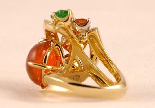 火之舞琥珀戒指
